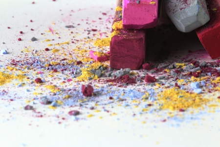 Pastel chalk pieces in different colours, uses on a heap Stock Photo