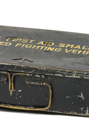 An old military metal box, bleed infront of white background photo
