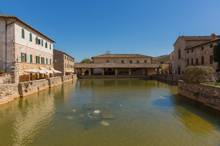 brighter: The city centre of Bagno Vignone with thermal spring