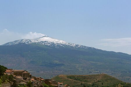 volcanos: Mount Etna and small volcanos Stock Photo