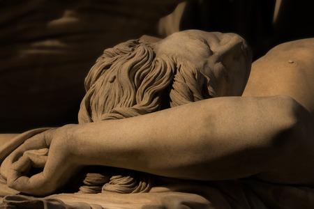 washbasins: Marble scupture of old Italian artist