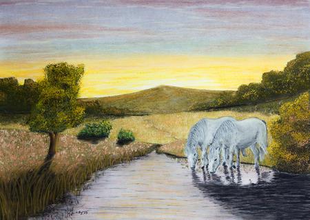 caballo bebe: Pintura pasteles de caballos en un r�o Foto de archivo