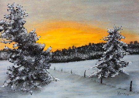 Painting pastels a winter landscape