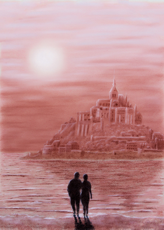 st michel: Painting Pastel from Mont St. Michel in France
