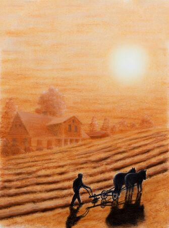 arando: Pintura en colores pastel de un granjero que ara su pa�s