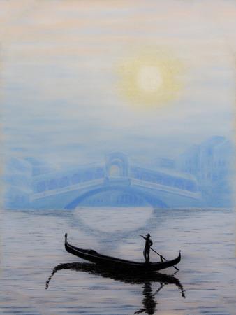 rialto bridge: Painting pastels of rialto bridge in venice