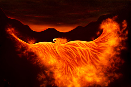 Painting of the firebird phoenix from the ashes Stock Photo