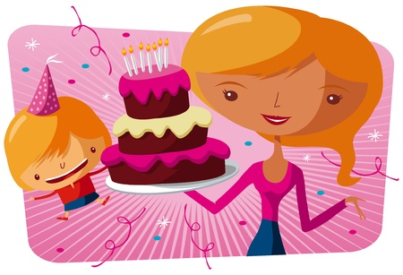 Happy birthday to you - big cake Vector