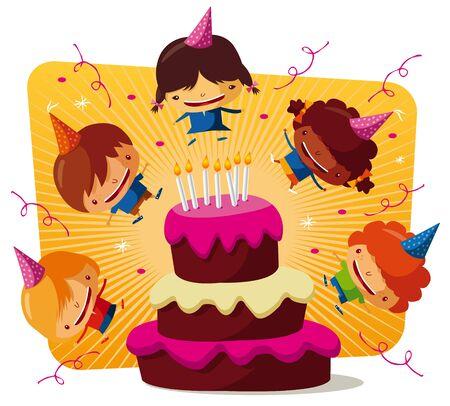 Birthday party - big cake Stock Vector - 9502413