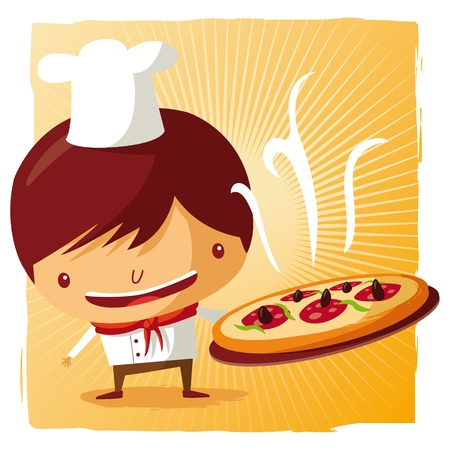 Pizza chef Stock Vector - 9502348