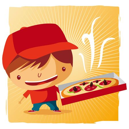 Pizza delivery boy Stock Vector - 9502347