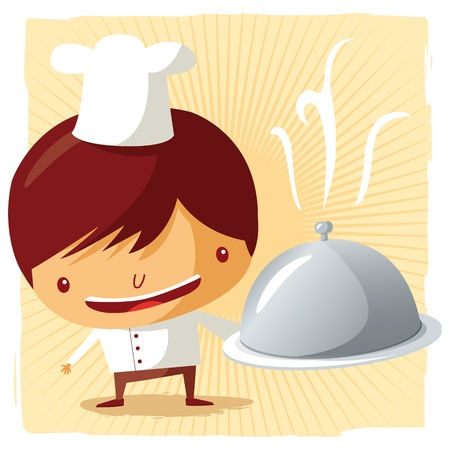 Chef - silver platter Vector