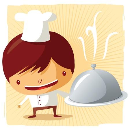 artes plasticas: Plato de cocinero - plata