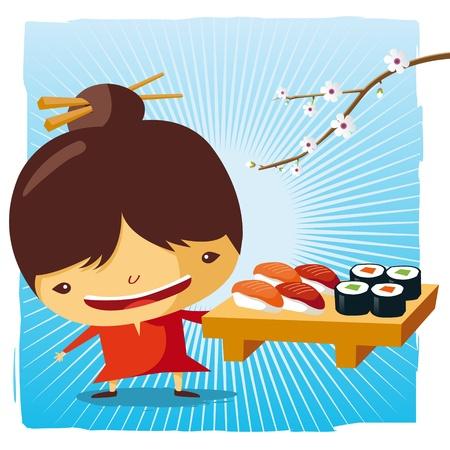 waitress: Waitress - Sushi and maki Illustration
