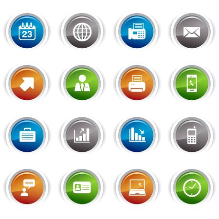 Glossy buttons - Office and Business icons Stock Vector - 9502355