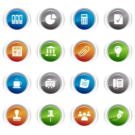 Glossy buttons - Office and Business icons Stock Vector - 9502357