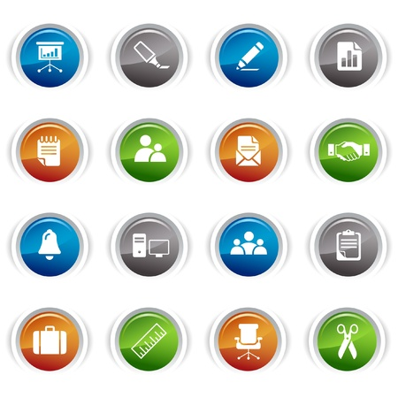 Glossy buttons - Office and Business icons Vector