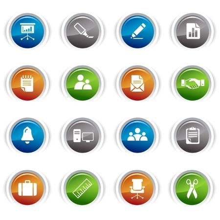 Pulsanti lucido - icone di ufficio e Business