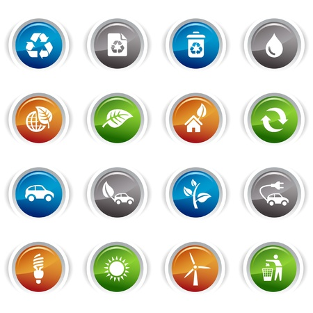 Glossy Buttons - Ecological Icons Vector