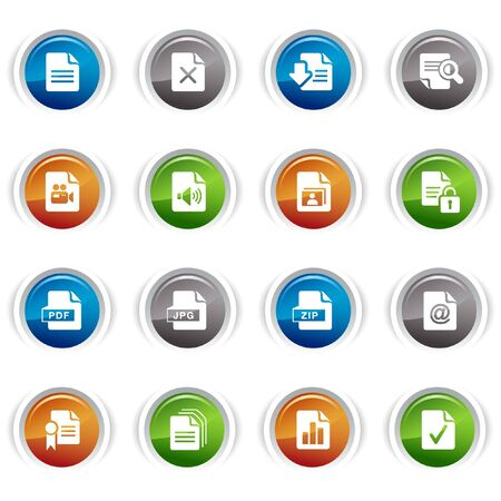 Glossy Buttons - File format icons Stock Vector - 9502353