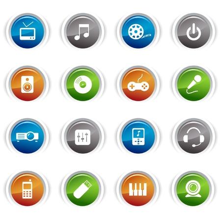 equipo de sonido: Botones brillante - iconos de medios