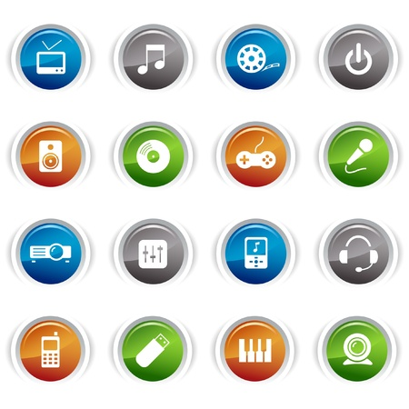 film projector: Glossy Buttons - Media Icons