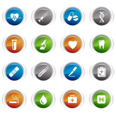 Glossy buttons - medical icons Vector