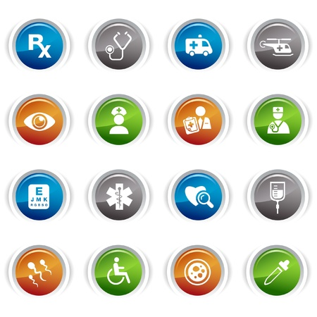 hospitals: Glossy buttons - medical icons