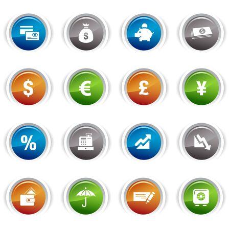 esfera: Botones brillante - iconos de finanzas Vectores