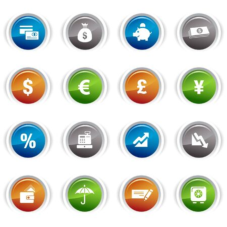 Glossy buttons - Finance icons Vector