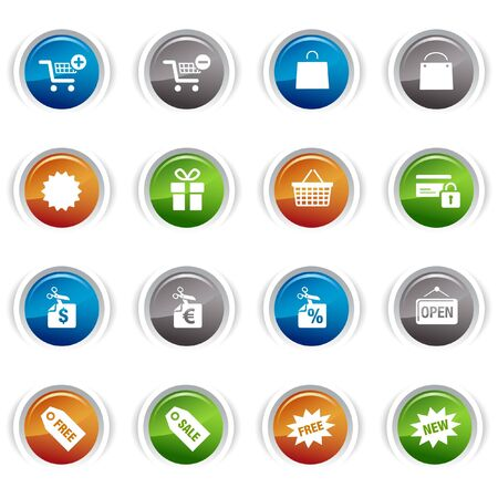 e new: Glossy Buttons - Shopping icons Illustration