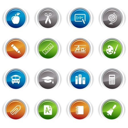 Glossy Buttons - School Icons Vector