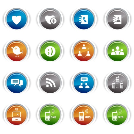 Glossy Buttons - Social media icons Stock Vector - 9603533