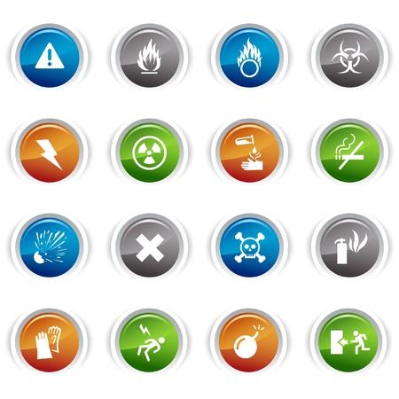 symbole chimique: Glossy buttons - ic�nes d'avertissement