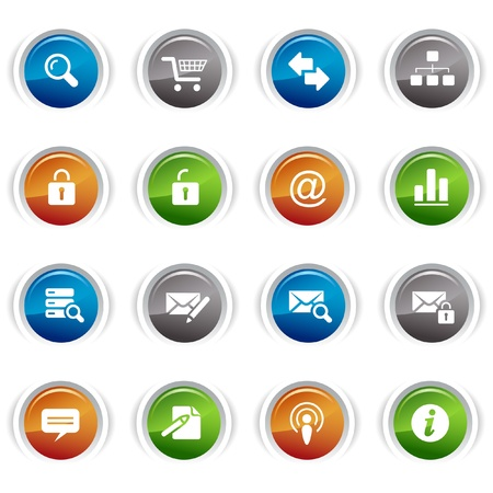 Glossy buttons - classic web icons Vector