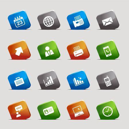 man on cell phone: Cortar cuadrados: iconos de oficina y negocios