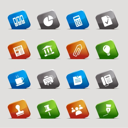 Cut Squares - Office and Business icons Stock Vector - 9603536