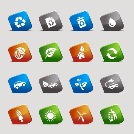 Cut Squares - Ecological Icons Stock Vector - 9701692