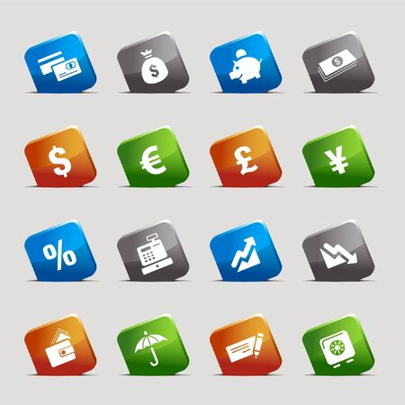 Cut Squares - Finance icons Vector