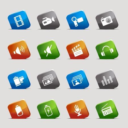 serie: Cut Squares - Media Icons