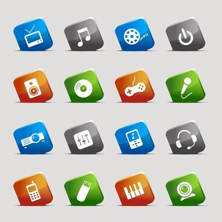 Cortar cuadrados: iconos de medios