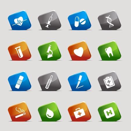 pulmon sano: Cortar cuadrados: iconos m�dicos Vectores