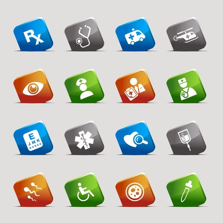 Cut Squares - medical icons Stock Vector - 9701571