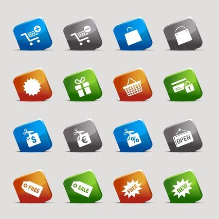 agregar: Cortar cuadrados: iconos de compras