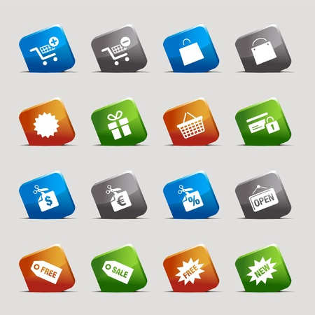 Cut Squares - Shopping icons Stock Vector - 9701456