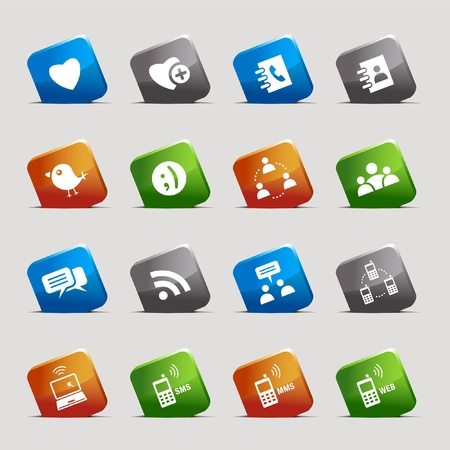 add button: Cut Squares - Social media icons Illustration