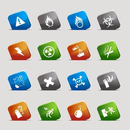 Corte cuadrados: iconos de advertencia Ilustración de vector