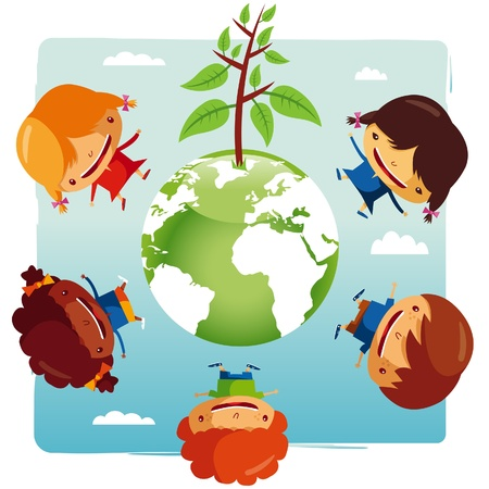 green planet Kids Vector