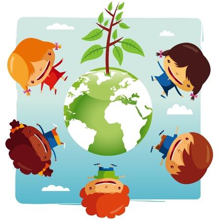 green planet Kids Stock Vector - 9701455