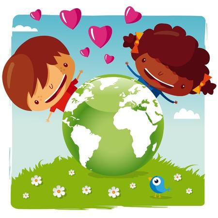 planisphere: amiamo il nostro pianeta  Vettoriali